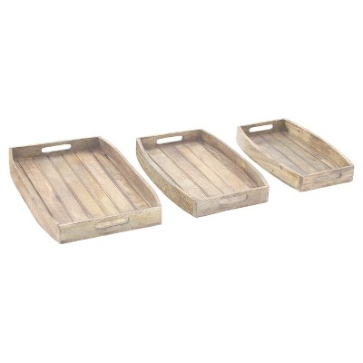 Farmhouse Rustic Wood Tray Set Mahogany Brown 3pk - Olivia & May