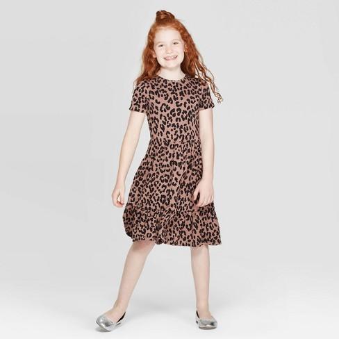 Girls' Short Sleeve Tiered Knit Dress - art class™ Brown - image 1 of 3