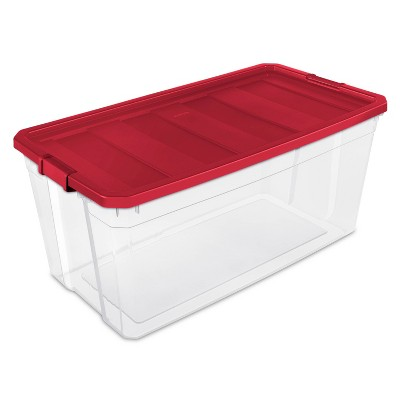 Sterilite 50gal Clear Stacker Box Red Lid and Latch