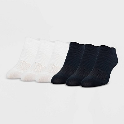 Peds Women's Extended Size All Day Active 6pk Ultra Low No Show Liner Casual Socks - Black/White 8-12
