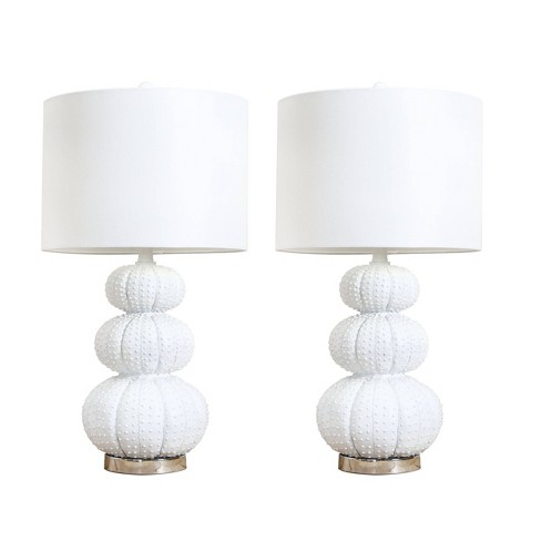 Morin Set of 2 Stacked Sea Urchin Table Lamp White - Abbyson Living (Lamp Only) - image 1 of 5