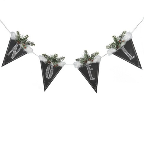 """The Costume Center 39"""" Black and White Chalkboard Style Snow and Pine """"Noel"""" Christmas Banner - image 1 of 1"""