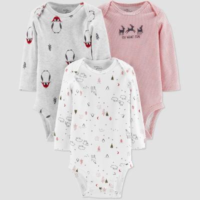 Little Planet Organic by Carters Baby 3pk Holidays Bodysuits - Gray Newborn