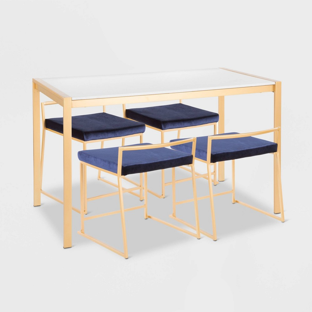 5pc Fuji Contemporary Dining Marble Top Table Set Gold/Blue - Lumisource, Marble Top Gold/Blue