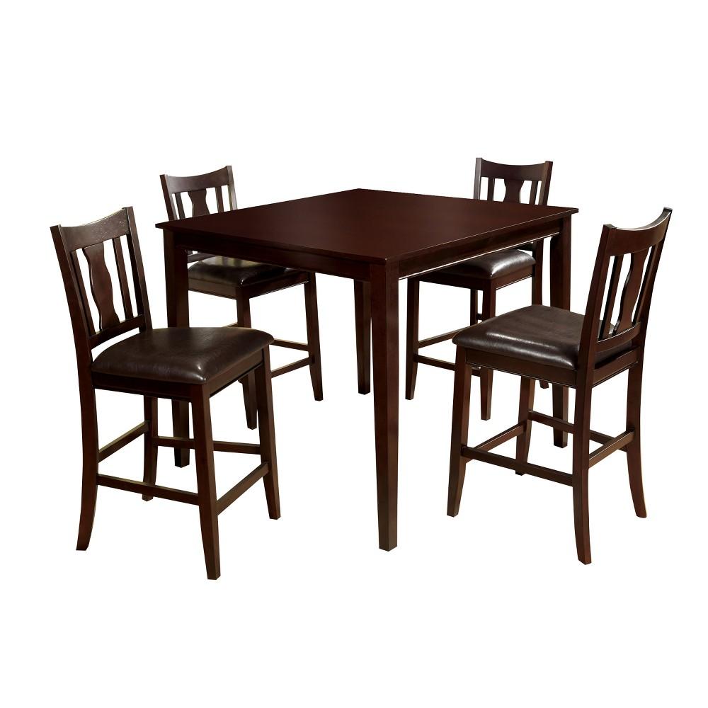 Image of 5pc Tilmara Curvy Cutout Back Chair Counter Dining Table SetEspresso - miBasics