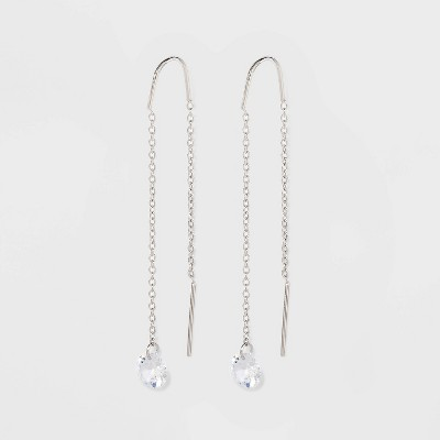 Round Clear Crystal Threader Earrings - A New Day™ Silver