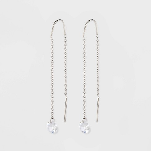 Round Clear Crystal Threader Earrings - A New Day™ Silver - image 1 of 2