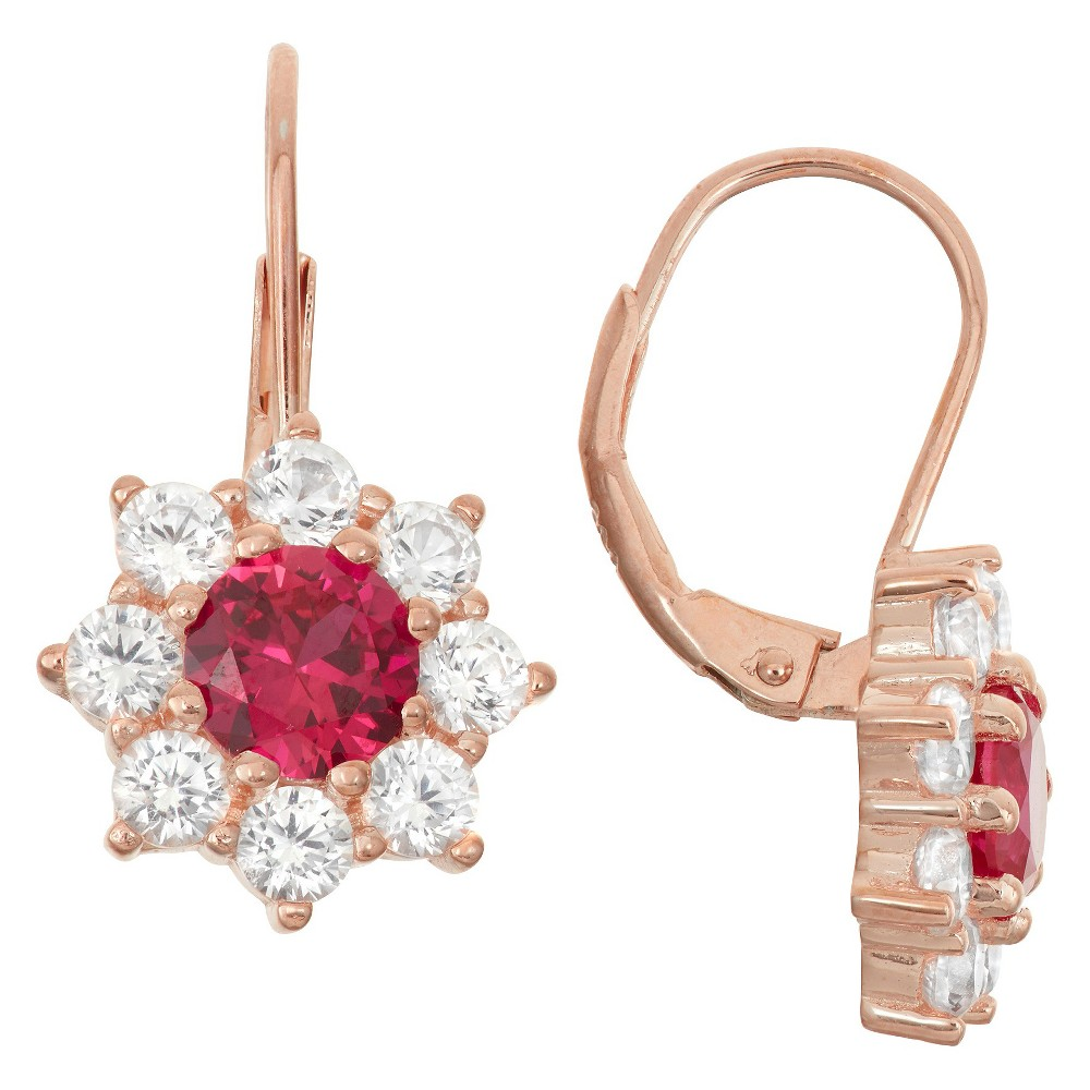 3 4/9 Tcw Tiara Rose Gold Over Silver Ruby Snowflake Leverback Earrings