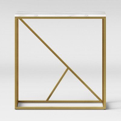 Highfield Console Table White Marble/Brass Ships Flat - Project 62™