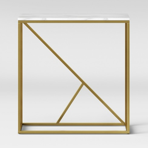 Highfield Console Table White Marble/Brass Ships Flat - Project 62™ - image 1 of 4