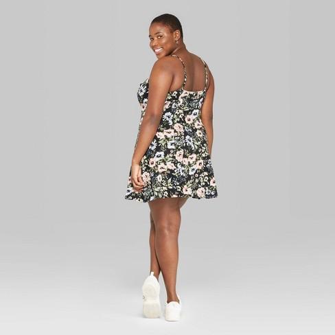 99429303d5d Women s Plus Size Floral Print Strappy Knit Swing Dress - Wild Fable™ Black  4X   Target