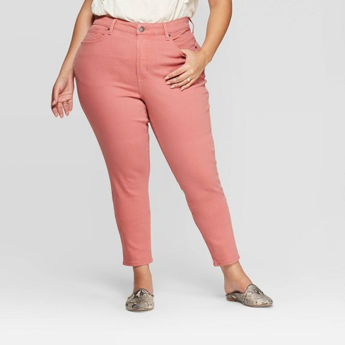 Women's Plus Size High-Rise Skinny Jeans - Universal Thread™ Pink  - image 1 of 3