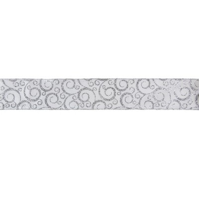 Northlight White And Silver Glitter Swirl Christmas Wired Craft Ribbon 2 5 X 16 Yards Target