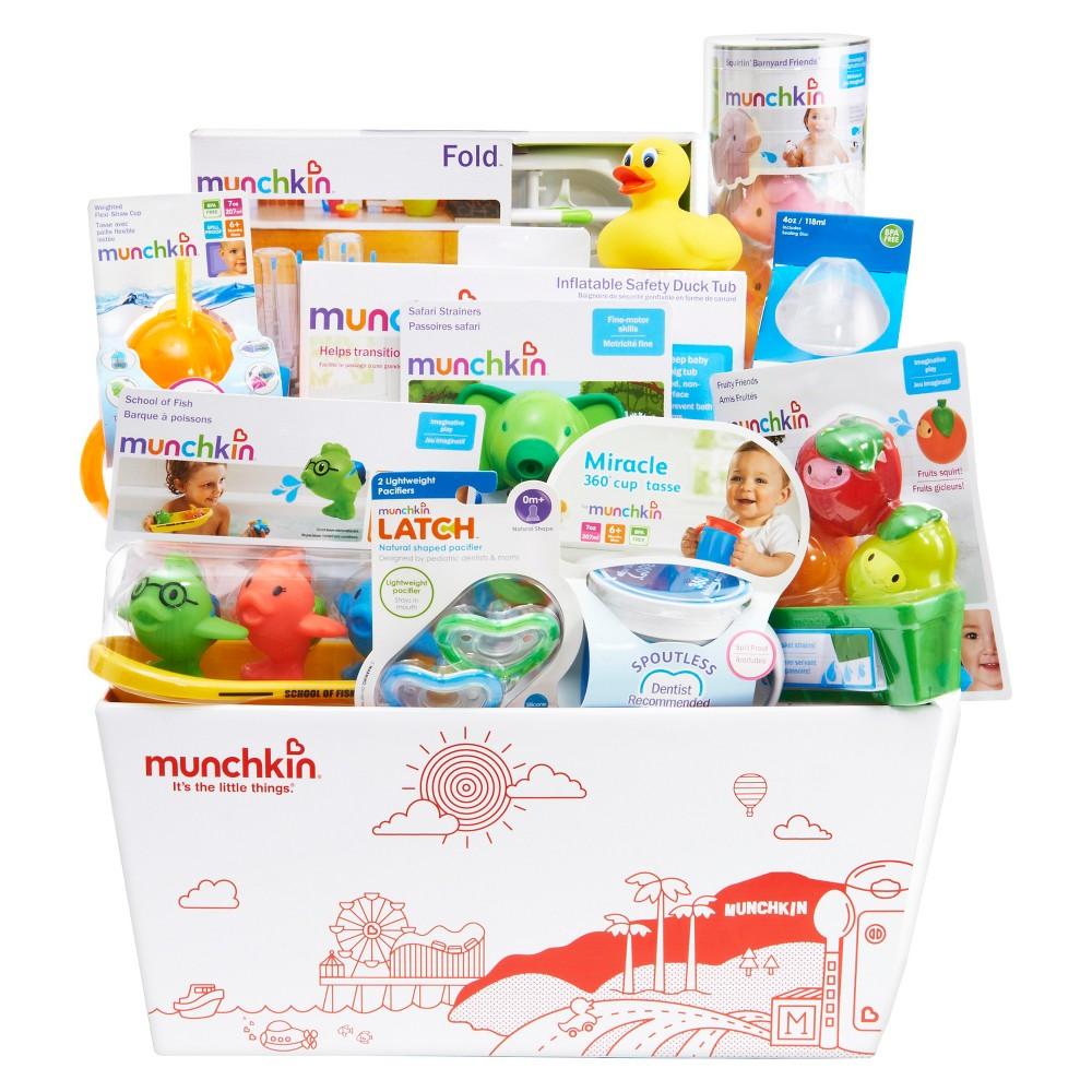 Munchkin Kisses Baby Bath and Feeding Baby Gift Set Basket, Multi-Colored