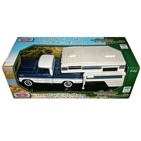 1969 Ford F 100 Pickup Truck With Slide In Camper Blue And White 1