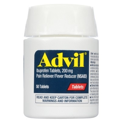 Advil Pain Reliever/Fever Reducer Tablet - Ibuprofen (NSAID)- 50ct