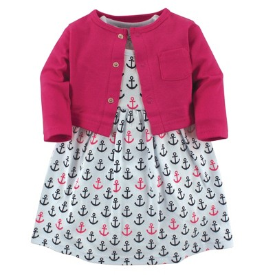 Luvable Friends Baby and Toddler Girl Dress and Cardigan 2pc Set, Anchors