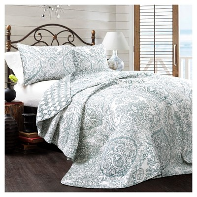 Blue Aubree Quilt Set (King)