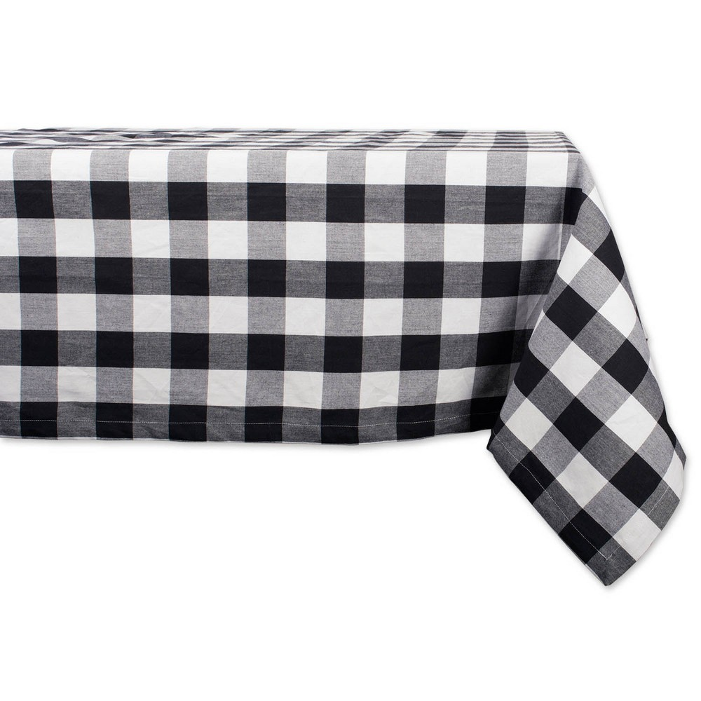 "Image of ""120""""x60"""" Buffalo Check Tablecloth Black/White- Design Imports"""