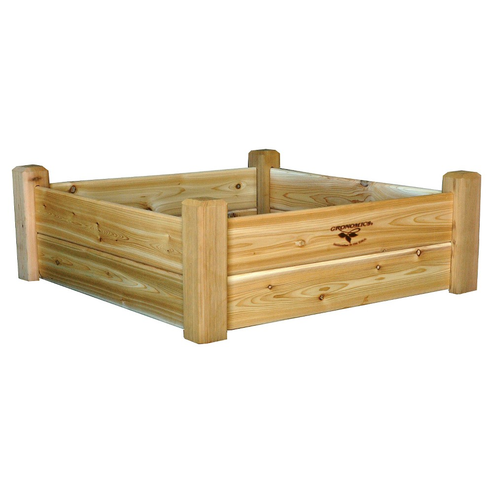 "Image of ""36 x 36"""" x 13"""" Raised Square Garden Bed - Western Red Cedar - Gronomics, Cedar Unfinished"""