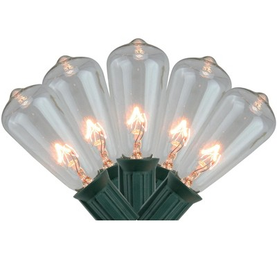 Northlight 20ct Transparent Mini Edison Style Summer Patio Lights Clear - 12.5' Green Wire