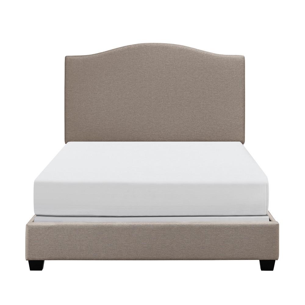 Bellingham Camelback Upholstered Queen Bedset Linen Oatmeal Gray - Crosley