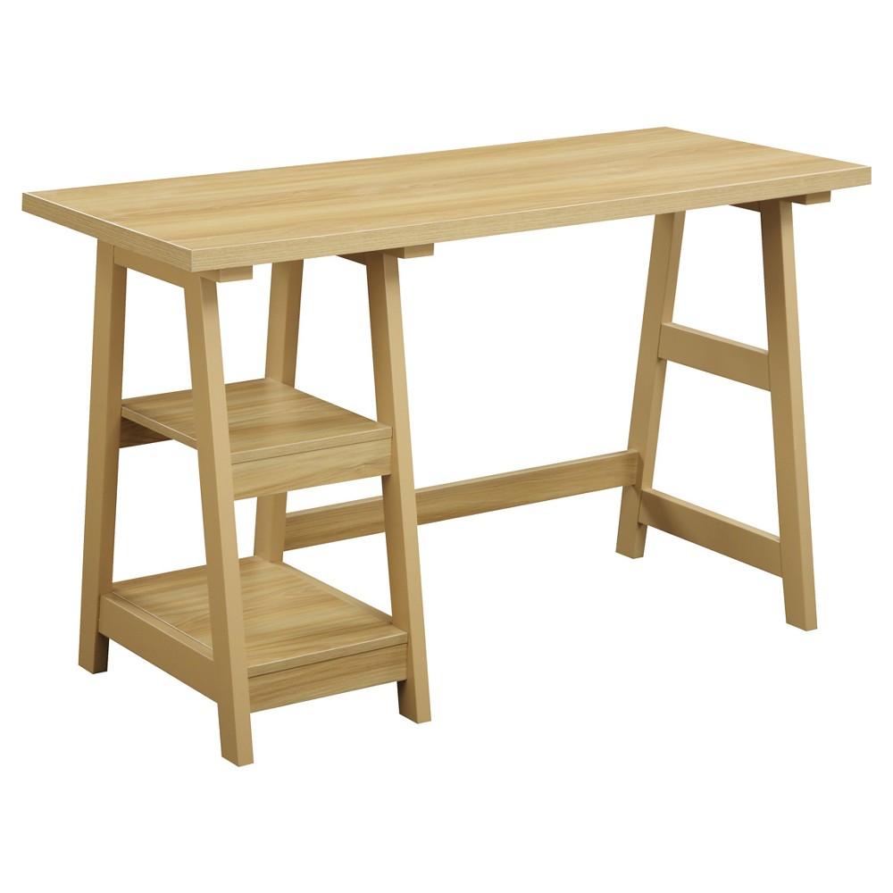 Trestle Desk - Light Oak (Brown) - Convenience Concepts
