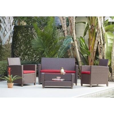 4pc Malmo Resin Wicker Patio Deep Seating Conversation Set - Room & Joy