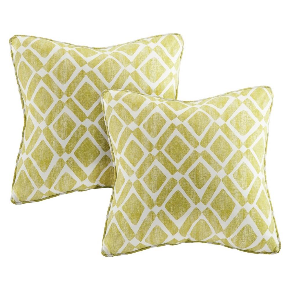 Green Natalie Printed Square Throw Pillow 2pk 20