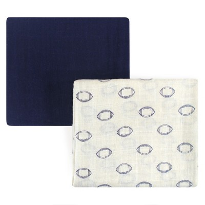 Hudson Baby Infant Boy Cotton Muslin Swaddle Blankets, Football, One Size
