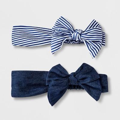 Girls' 2pk Denim Print Bow Headwrap - Cat & Jack™ Denim Blue