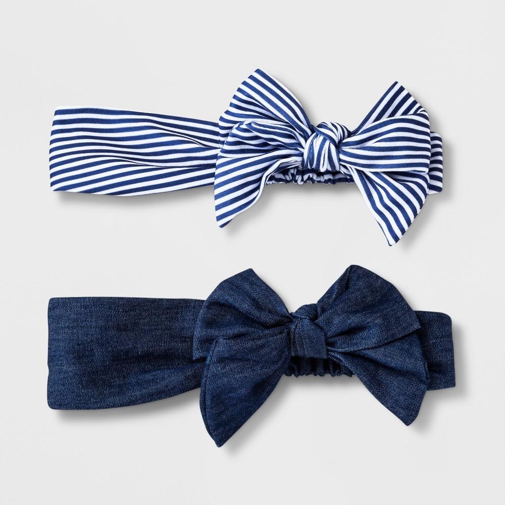 Girls' 2pk Denim Print Bow Headwrap - Cat & Jack Denim Blue