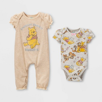 Baby Girls' 2pk Winnie the Pooh Bodysuit - Beige 18M
