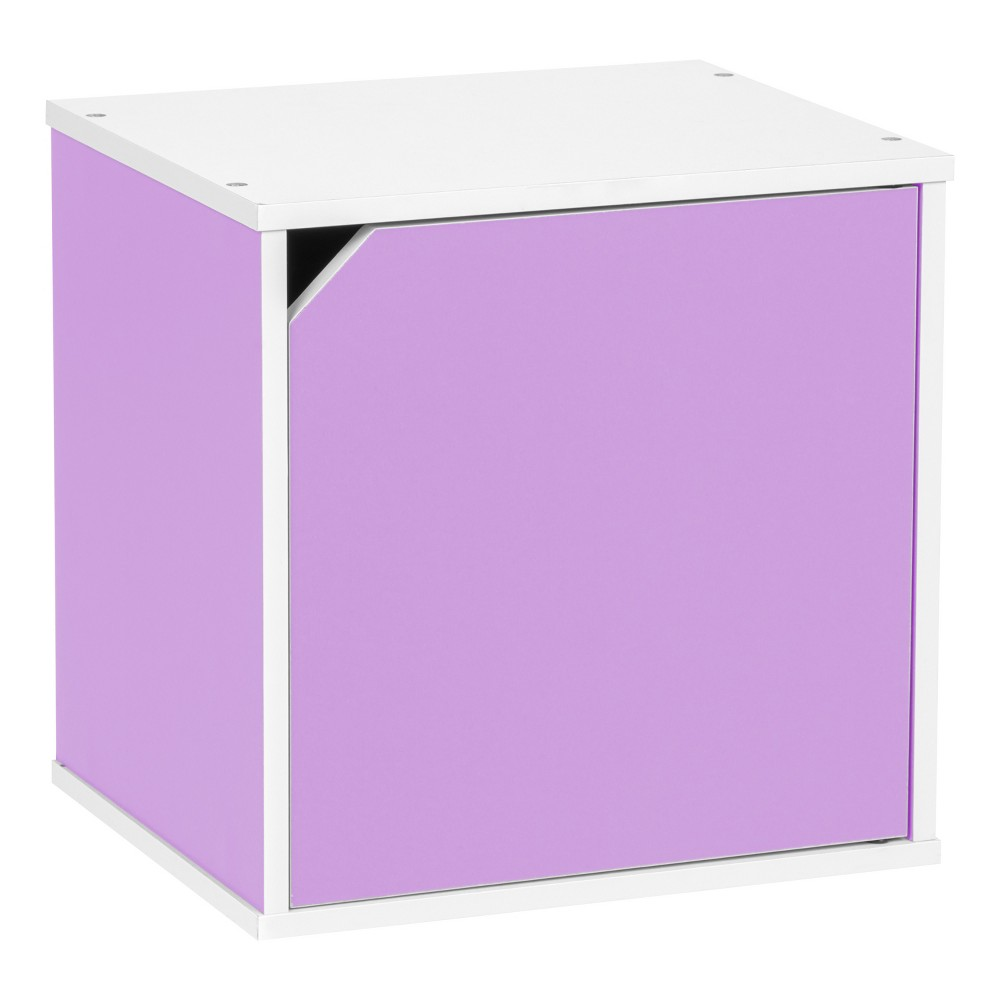 Iris Baku Wood Storage Cube Box with Door - Purple