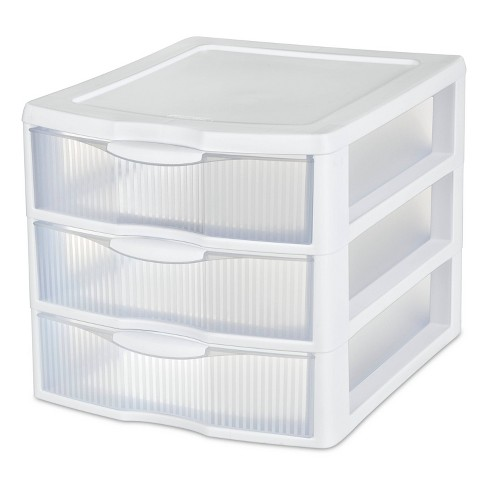 Sterilite 3 Drawer Medium Countertop Unit White with Drawers Clear - image 1 of 4