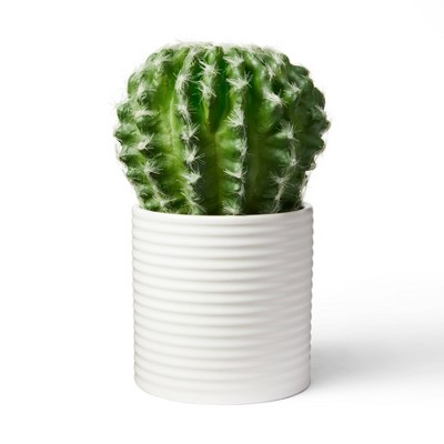 """7.5"""" x 4"""" Faux Cactus Plant in Ribbed Ceramic Pot White - Hilton Carter for Target"""