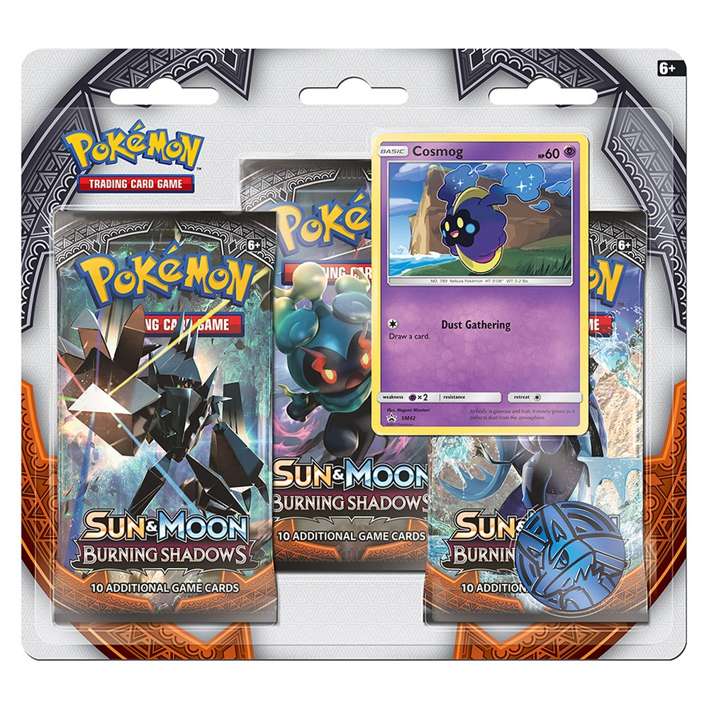 Pokemon Sun Moon Burning Shadows Trading Card Game 3 Pack featuring Cosmog Give your collection a boost! Get in on the latest Pokemon Trading Card Game action with three awesome booster packs from the new Sun and Moon-Burning Shadows expansion, a special holographic promo card featuring Cosmog, a cool Pokemon coin to add to your collection, and a code card for the Pokemon Trading Card Game online! Gender: Unisex.