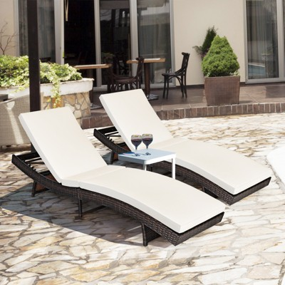 Costway 2PCS Patio Rattan Folding Lounge Chair Chaise Adjustable White\Turquoise Cushion