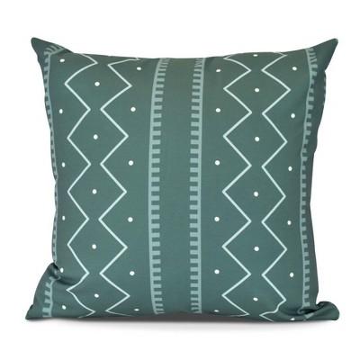 "16""x16"" Mud Cloth Print Square Throw Pillow Dark Green - e by design"