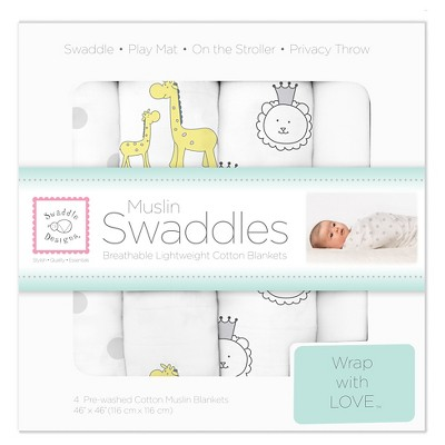 SwaddleDesigns® Cotton Muslin Swaddle Blankets - Jungle Friends - 4pk - Sterling Gray.