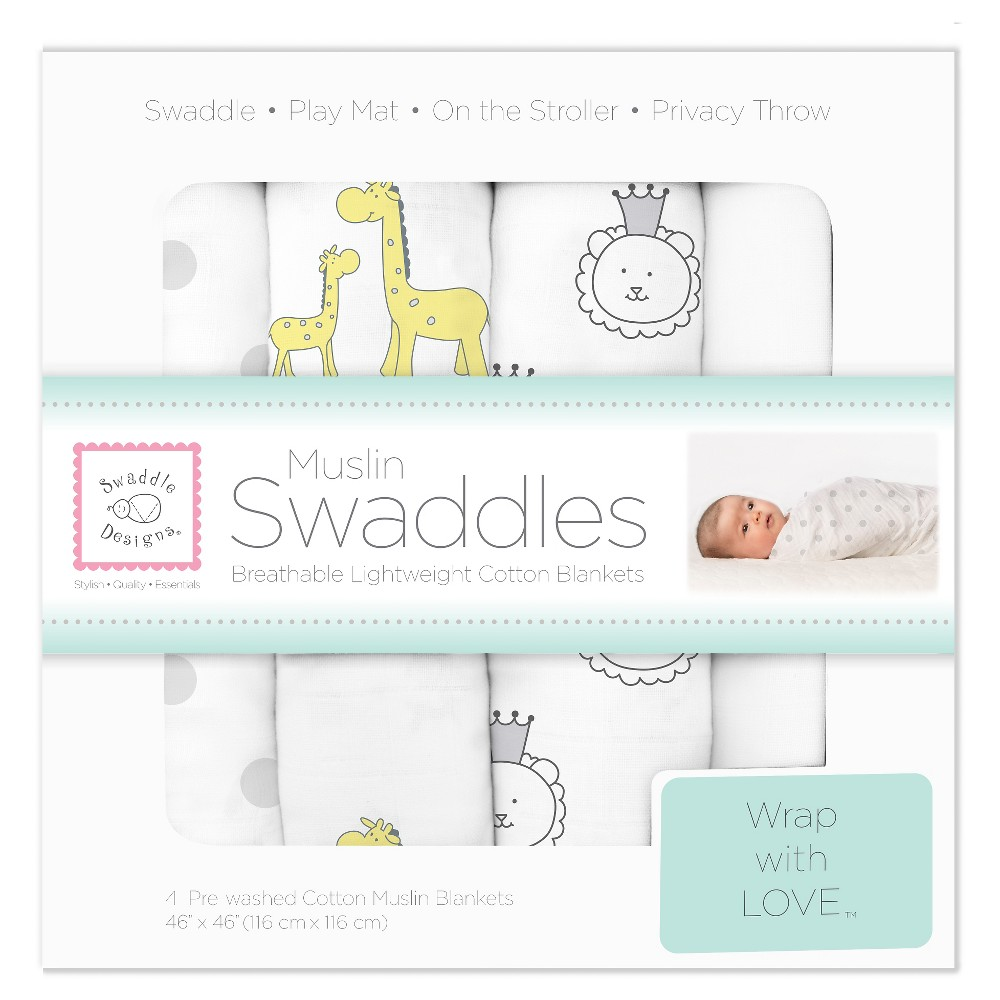 SwaddleDesigns Cotton Muslin Swaddle Blankets - Jungle Friends - 4pk - Sterling Gray., Graystone