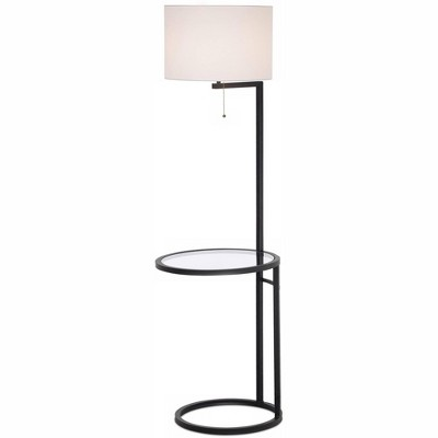 360 Lighting Modern Floor Lamp with Table Glass Black White Fabric Drum Shade for Living Room Reading Bedroom Office