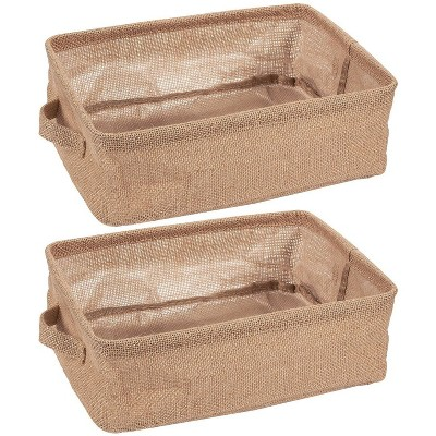 "Juvale 2-Pack Fabric Collapsible Storage Bins Basket with Handles for Shelves, Closet Storage Organizer, Brown, 12.25""x9.75""x4.5"""