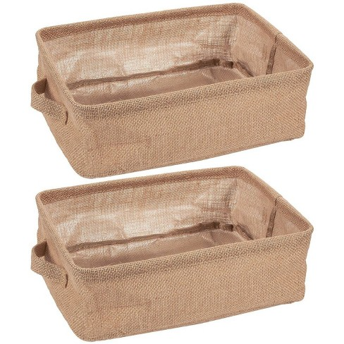 """Juvale 2-Pack Fabric Collapsible Storage Bins Basket with Handles for Shelves, Closet Storage Organizer, Brown, 12.25""""x9.75""""x4.5"""" - image 1 of 4"""