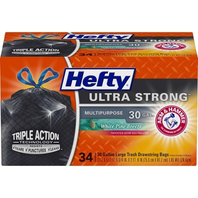 Hefty Ultra Strong White Pine Breeze Large Drawstring Trash Bags 30 Gallon - Black - 34ct