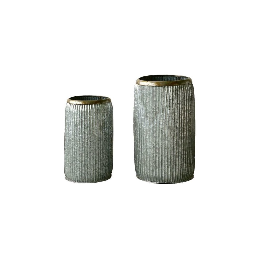 Galvanized Iron Containers (30) - Set of 2 - 3R Studios, Gray