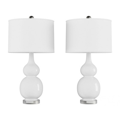 Set of 2 Ceramic Double Gourd Table Lamps (White)