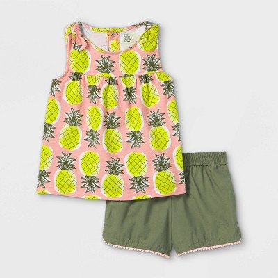 Toddler Girls' 2pc Pineapple Tank Top and Shorts Set - Just One You® made by carter's Pink/Olive Green