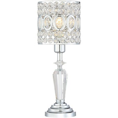 """Vienna Full Spectrum Accent Table Lamp 17"""" High Chrome Crystal Stacked Pedestal Drum Shade for Bedroom Bedside Nightstand Office"""