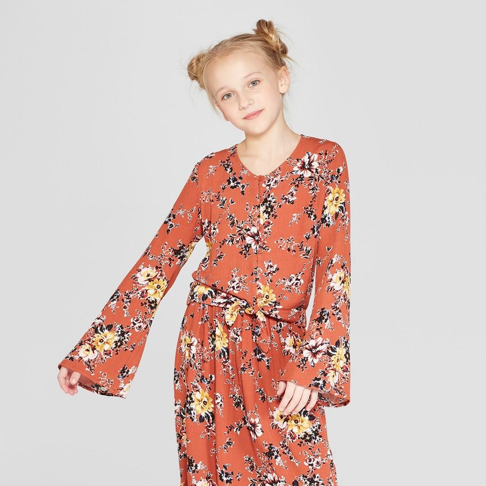 Girls' Floral Long Sleeve Button Front Shirt - art class Orange S